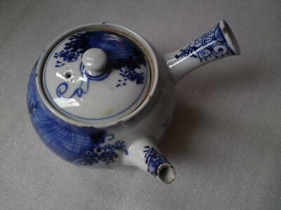 Antique Japanese Blue & White Porcelain Yokode Kyusu Side Handle teapot