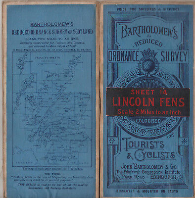 Vintage Bartholomew's Reduced Ordnance Survey Cloth Map Sheet 14 Lincoln Fens
