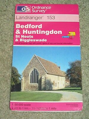 OS Ordnance Survey Landranger Map Sheet 153 Bedford & Huntingdon