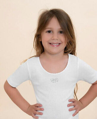 3 T-Shirts Girl Antonella short Sleeve Crew-Neck Cotton with Embroidery - 510200
