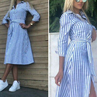 Women Fashion Lapel Solid Color 3/4 Sleeve Striped Button With Belt Shirt Dress