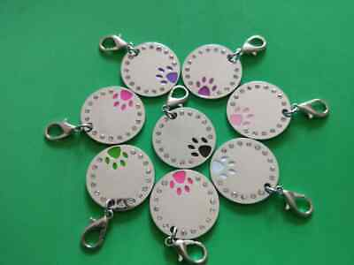 Personalised ENGRAVING PAW Dog/Cat ID Name Address Vet Bling Tag Puppy Pet Tags