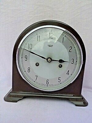 Vintage Smith Enfield Bakelite Art Deco Wind Up Chiming Mantel Clock Excellent