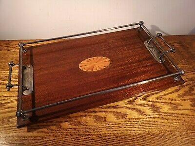 BEAUTIFUL EDWARDIAN INLAID MAHOGANY TRAY WITH CHROME GALLERY & HANDLES c1910