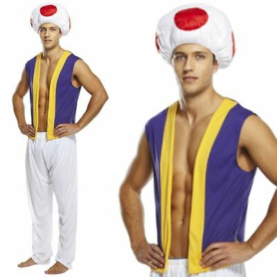 Adult Mens Super Mario Toad Mushroom Fancy Dress 90s Costume Outfit