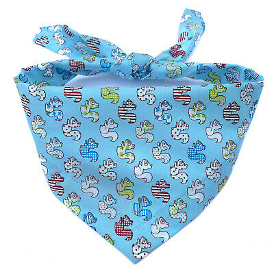 Handmade squirrel Dog Bandana, tie on style, Blue, 100% Cotton, High Quality