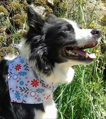 Retro Floral Dog bandana, Handmade by Dudiedog UK, Quality Cotton, Tie on style