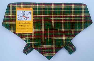 Green Tartan Dog Bandana, Tie on style, UK Handmade, High Quality, dog gift