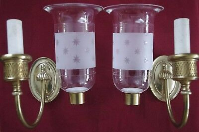 Pair Hurricane Shade E. F. Caldwell Single-Candle Sconces With Stars! Offers?