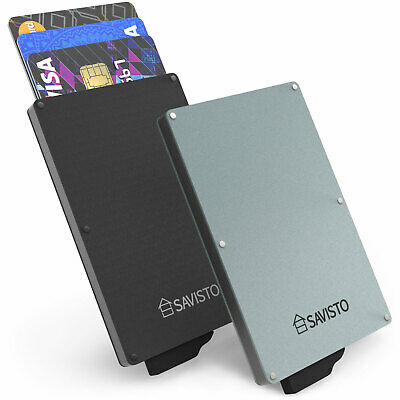Savisto Aluminium Sliding RFID Blocking Wallet Anti-Scan Contactless Card Holder