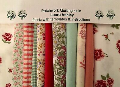 LAURA ASHLEY FABRIC DARK ROSES 80 piece PATCHWORK QUILTING KIT+ INSTRUCTIONS