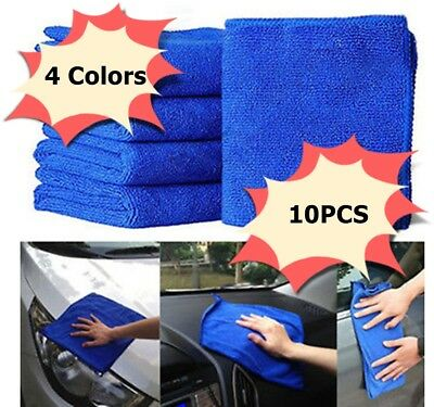 10Pcs Microfibre Cleaning Auto Car Soft Cloths Wash Towels Duster Blue 20x20cm
