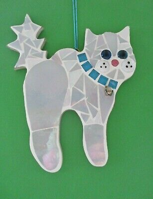 Stained Glass Mosaic White Cat with turquoise sparkle collar & bell