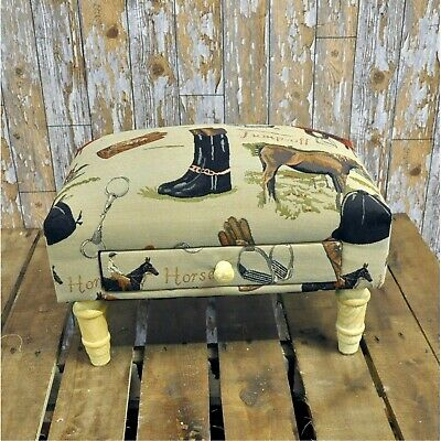 Rectangular Equestrian Horse Tapestry Footstool with Drawer MIN2150A