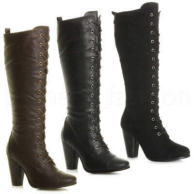 cb6996b33d3d Womens Ladies Biker High Chunky Heel Military Calf Lace Up Knee Boots Size