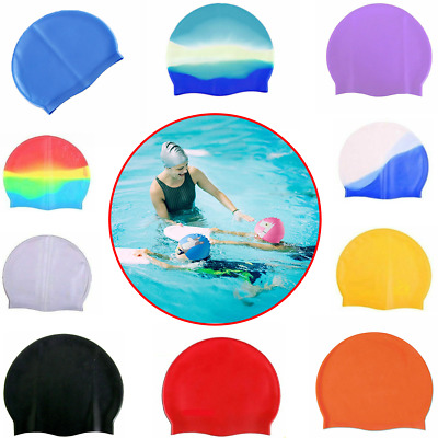 Unisex Adult Kids Children Swimming Pool Cap Silicone Swim Hat Waterproof Shower