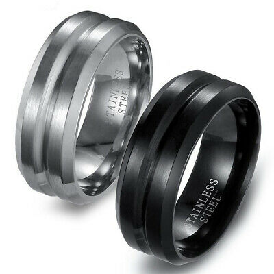 8MM 316L Stainless Steel Titanium Men Women Wedding Engagement Band Ring Sz6-12