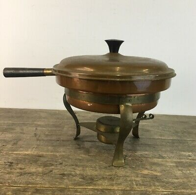 Large Arts & Crafts Copper And Brass Spirit Burner Pan On Stand.