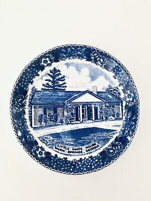 Vintage Old English Staffordshire Ware Plate Blue/White Hand Painted, England