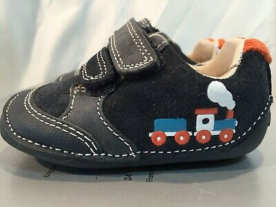 370f6ef8 CLARKS BABY BOYS Tiny Tom Blue Leather Shoes Size infant 2F EU 17.5 RRP £26