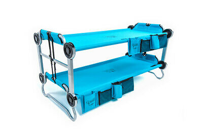 Double Camp Bed - Kid-O-Bunk Kids Camping Bed with Organisers - Blue -