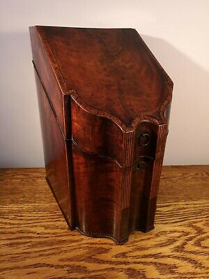 FABULOUS UNUSUAL GEORGIAN MAHOGANY CORRESPONDENCE BOX IN FORM OF KNIFE BOX c1810