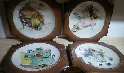 VINTAGE Norman Rockwell 1971 Gotham Fine China Plate Winter 4 Lot Wooden Frame