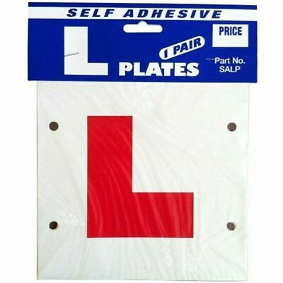 Learner Driver L Plate - Stick On Or Tie On - Pair - Self Adhesive