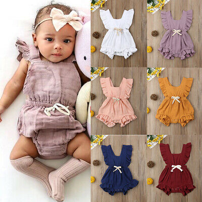 Newborn Baby Girls Ruffle Romper Bodysuit Jumpsuit Sunsuits Outfits Summer Cloth