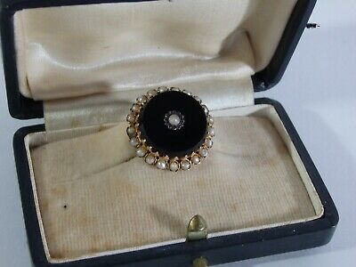 Superb Antique Victorian 14K Gold Brooch / Pin With Onyx & Pearls-19Th Century
