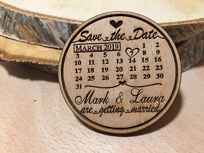 Wooden Calendar Save the Date Fridge Magnets with FREE Envelopes