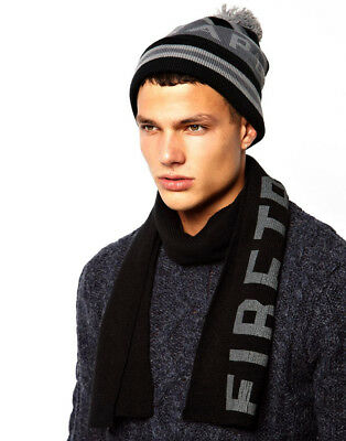 SALE  New FIRETRAP Mens Bobble Beanie & Scarf Gift Set Box - Hat gift - One Size