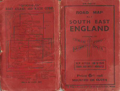 GEOGRAPHIA ROAD MAP NO. 1 SOUTH EAST ENGLAND EXTENDING TO IPSWICH DOVER etc.