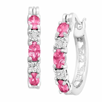 Created Pink Sapphire Hoop Earrings with Diamonds in Platinum-Plated Brass