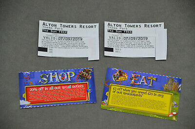 2x Alton Towers Paper Tickets 7/09/19 7th September 2019 Saturday Summer Time