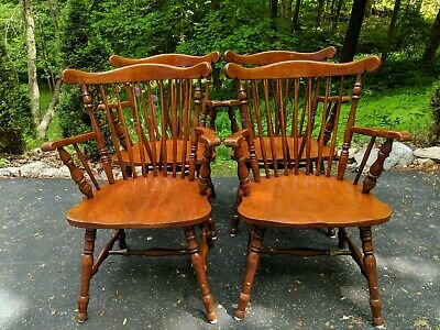 Captains Chairs Set Of 4 Wood Windsor Tavern Dining Arm Chairs Vtg Reproduction
