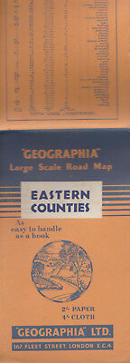Vintage Geographia Large Scale Road Map Eastern Counties - Paper - 2/-