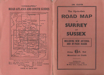 VINTAGE GEOGRAPHIA UP TO DATE ROAD MAP OF SURREY & SUSSEX ON CLOTH 6d