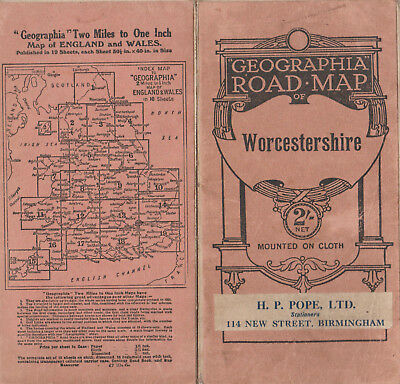 Vintage Geographia Road Map Of Worcestershire On Cloth Cover Price 2/-
