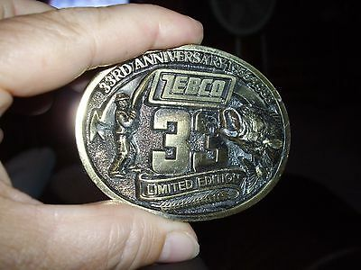 Zebco 33 Limited edition 33rd anniversary Belt Buckle 1955-1988 Brass