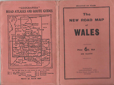 VINTAGE GEOGRAPHIA NEW ROAD MAP OF WALES MOUNTED ON CLOTH - 6d