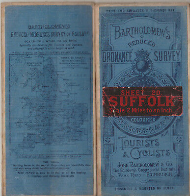 Vintage Bartholomew's Reduced Ordnance Survey Cloth Map Sheet 20 Suffolk