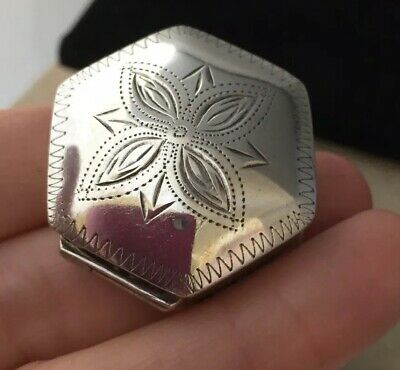 Vintage Jewellery Fabulous Sterling Silver Hallmarked And Engraved Pill Box