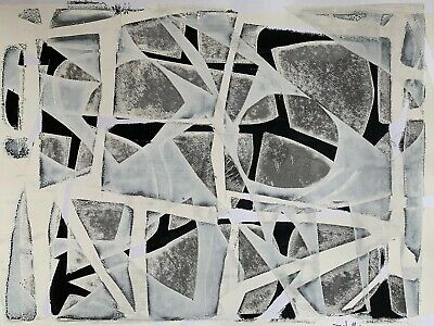 BETO MEJIA Black & White Original Modern Art Abstract Painting Mixed Media Paper
