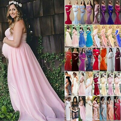 UK Women Maternity Pregnancy Maxi Dress Ball Gown Lace Dress Photography Prop