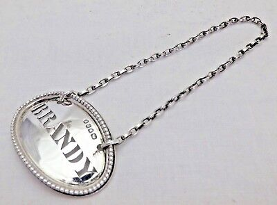 Antique Sterling Solid Silver Oval Brandy Wine Label Ticket 1868 (854-D-KNY)