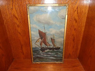 Vintage Oil Painting on Board of a Ship Under Sail at Sea, Signed Mussen
