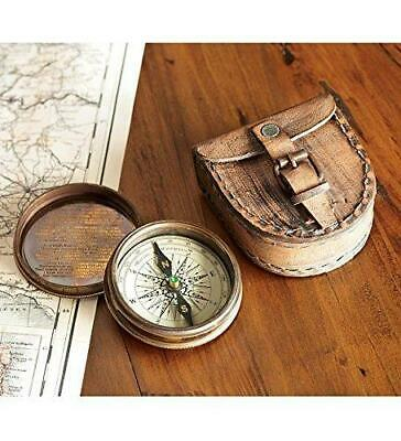 Brass Maritime Vintage Style Pocket Compass Nautical Strap w/ Leather Case Decor