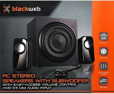 d11b962f8fa Blackweb BWA17HO011 2.1 Powered Pc Stereo Speaker System With Subwoofer