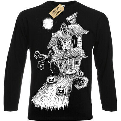 32bf045c Haunted House T Shirt mens womens gothic alternative nightmare long sleeve